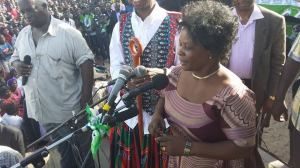 Mrs Lungu addressing a rally in Mongu alongside husband